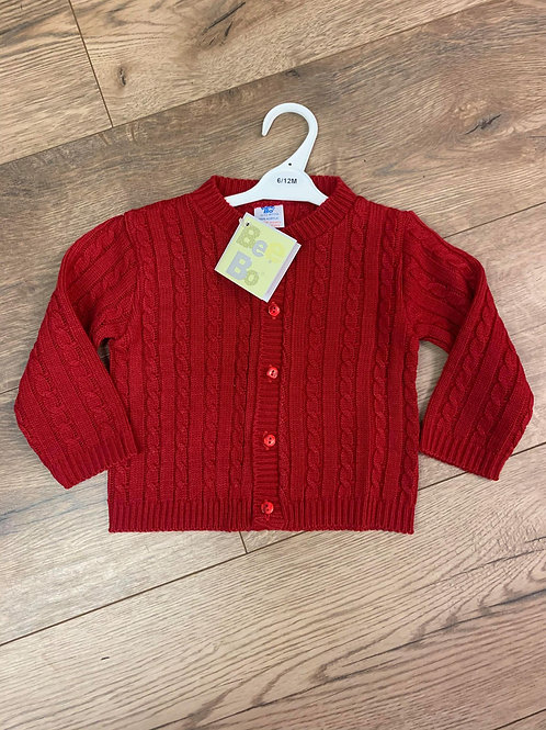 Bee Bo Red Cable Cardigan