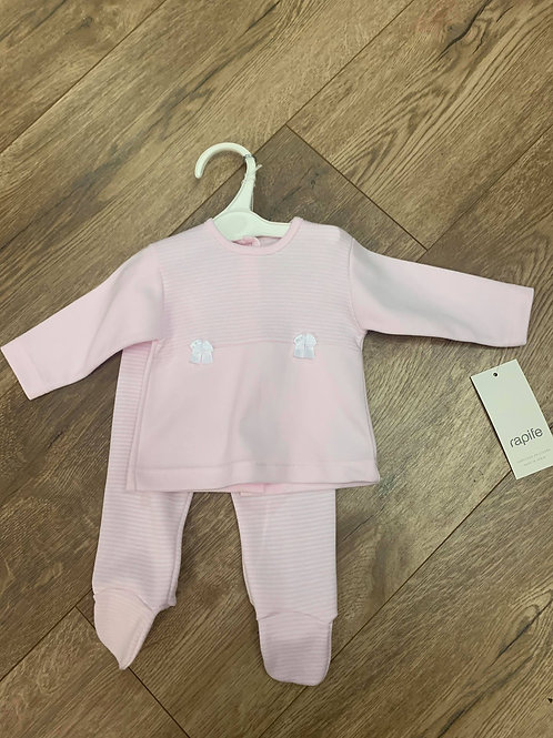 Rapife Girls Pink Striped Top and Trousers Set