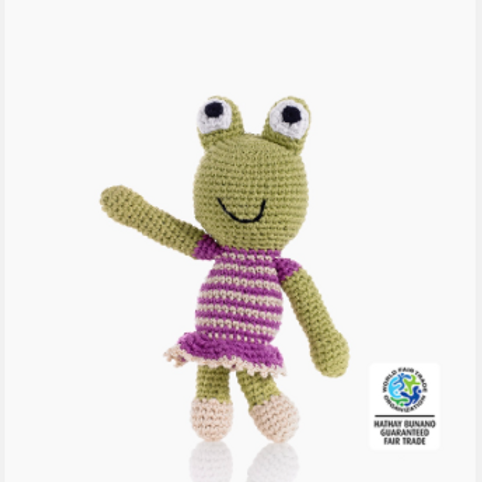 FROG SOFT TOY RATTLE, PINK GIRL