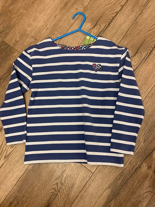 Kite Blue Striped Heart Long Sleeved Top