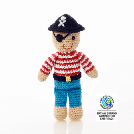 PIRATE RATTLE, CROCHET BABY TOY
