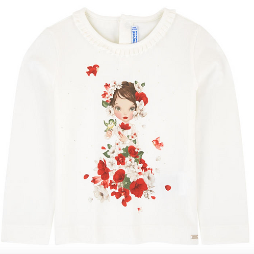 MAYORAL Red Long Sleeved Printed T-shirt For Girl