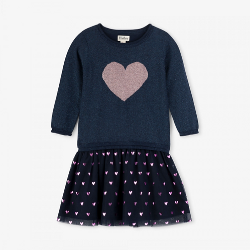 Hatley Glitter Heart Drop Waist Dress