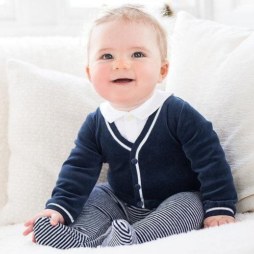 EMILE ET ROSE Nate Baby Boys Smart Striped Babygrow