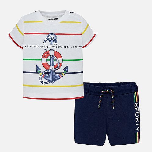 Mayoral Anchor print Bermuda shorts and t-shirt set for baby boy