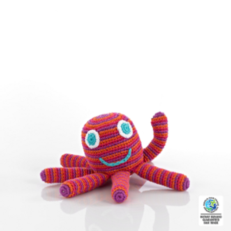 OCTOPUS BABY TOY RATTLE, CROCHET PINK