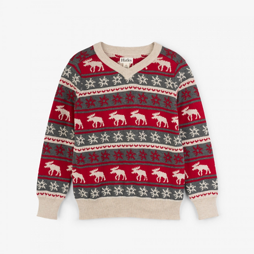 Hatley Fair Isle Moose V-Neck Sweater
