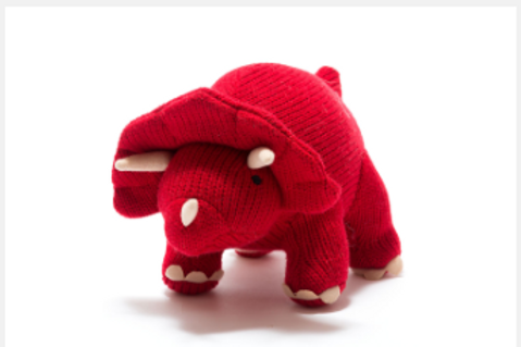 RED TRICERATOPS SOFT TOY BABY RATTLE