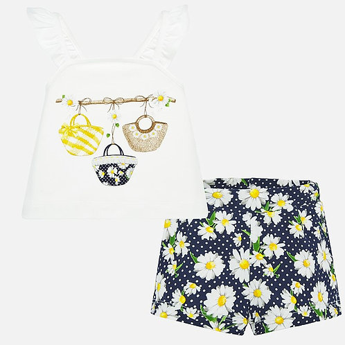 Mayoral t-shirt and patterned shorts set for baby girl