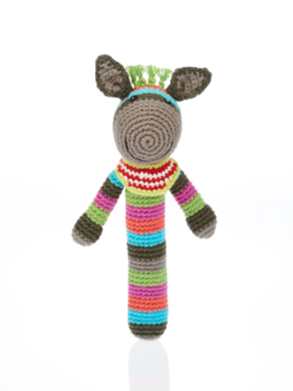 FAIR TRADE CROCHET COTTON DONKEY STICK BABY RATTLE