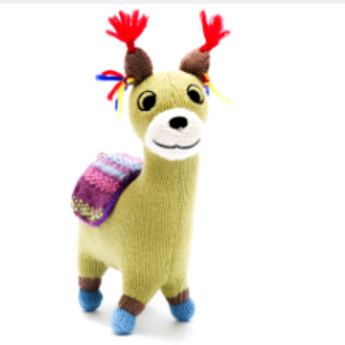 SMALL KNITTED LLAMA SOFT TOY