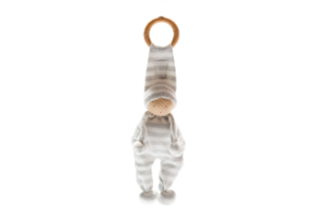 ORGANIC BABY COMFORTER AND TEETHING TOY, GREY STRIPE