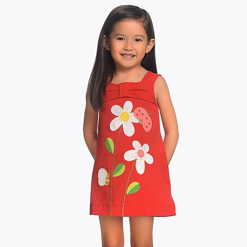 Mayoral Strappy dress with embroidered appliques for girl