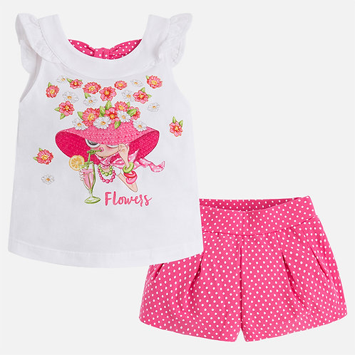 Mayoral Set of shorts and T-shirt with print for girl