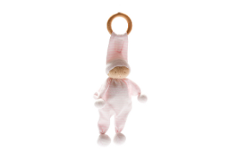 ORGANIC BABY COMFORTER AND TEETHING TOY, PINK STRIPE