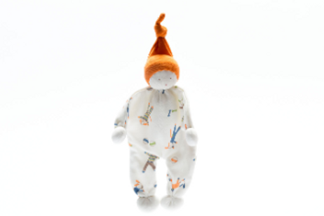ORGANIC BABY COMFORTER, BABY BUDDY DOG PRINT & ORANGE HAT