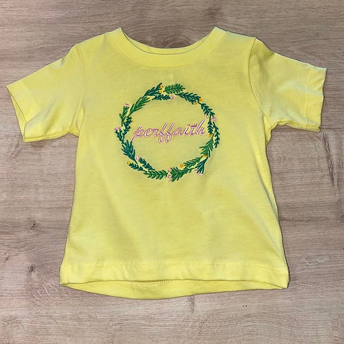 Yellow 'Perffaith' Embroidered T-Shirt