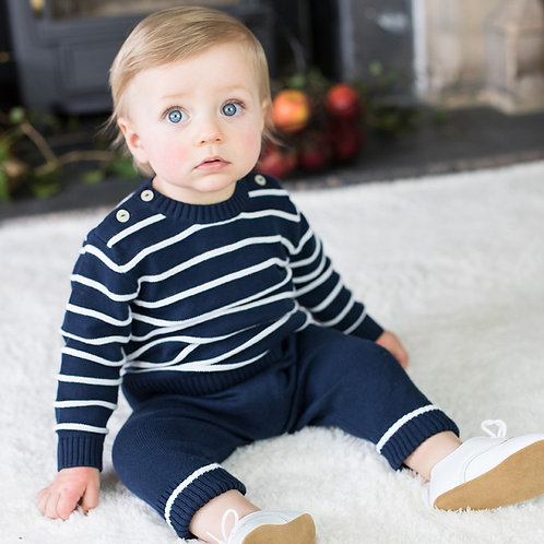 EMILE ET ROSE Noel Cosy Knit Stripe Top, Trousers & Hat Set