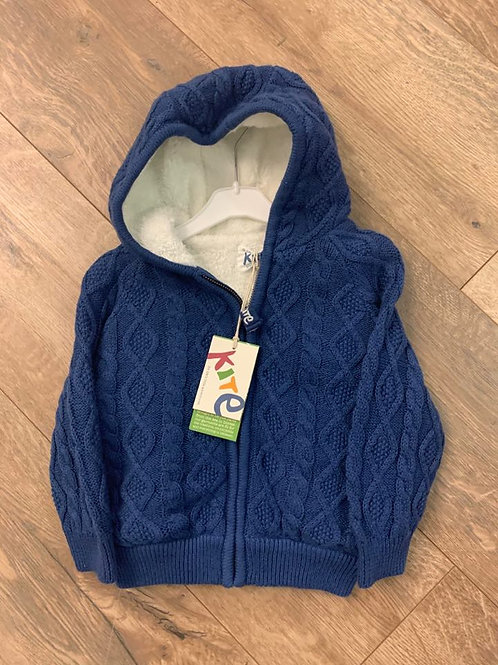 Kite Fur Lined Knitted Navy Jacket