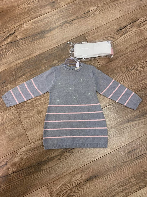 Baby Bol Striped and Flower Knitted Dress and Tights