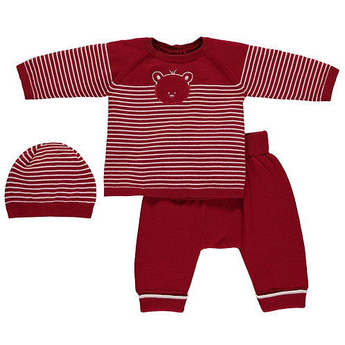 Emile et Rose RED COSY KNIT STRIPED JUMPER & TROUSER SET
