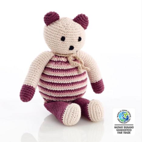 PEBBLE ORGANIC TEDDY BEAR, CALM PURPLE.
