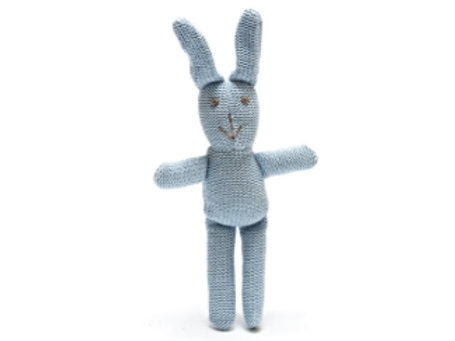 BUNNY TOY FOR BABIES, KNITTED ORGANIC BLUE RATTLE