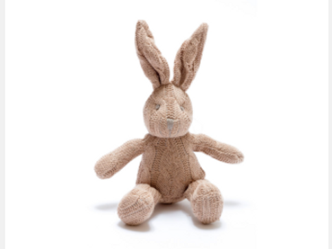 BUNNY RATTLE FOR BABY, CABLE KNIT ORGANIC BROWN