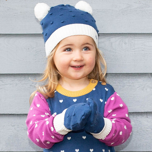 Kite Navy Bobble Hat and Mitts Set