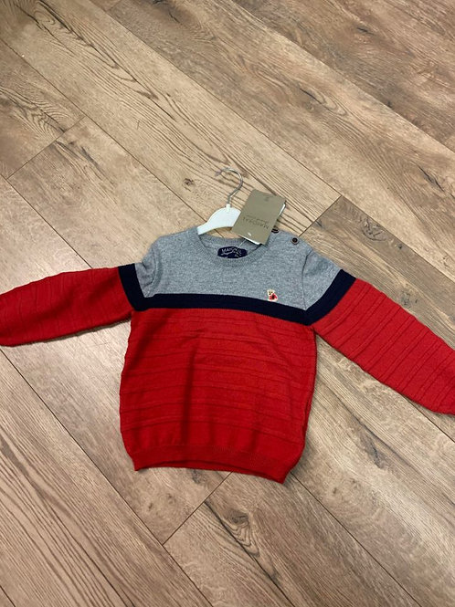 Mayoral Boys Red and Grey Jumper