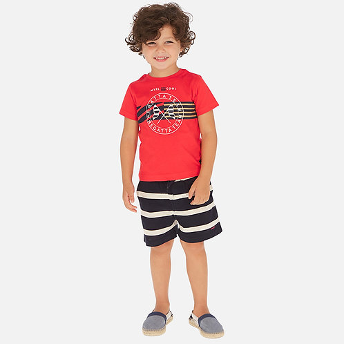 Mayoral t-shirt and striped shorts set for boy