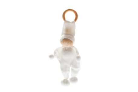 ORGANIC BABY COMFORTER AND TEETHING TOY, NATURAL WHITE