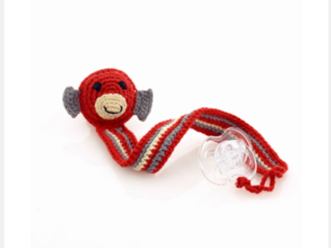 SOOTHER CLIP MONKEY, HANDMADE