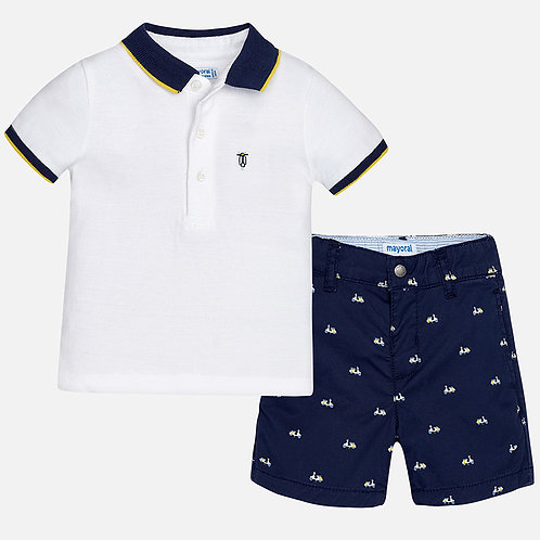 Mayoral Patterned shorts and polo set for baby boy
