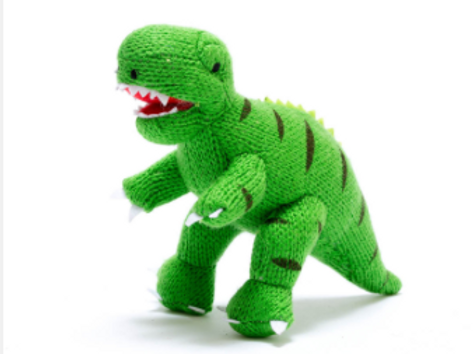 SMALL KNITTED DINOSAUR TOY, GREEN T REX RATTLE