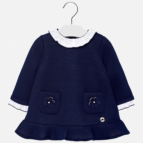 MAYORAL Dress With Contrast Collar For Baby Girl