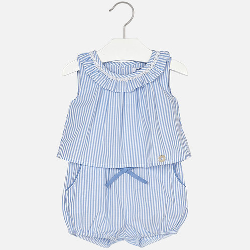Mayoral Short striped playsuit for baby girl