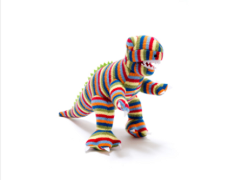 SMALL KNITTED DINOSAUR TOY, STRIPE T REX RATTLE