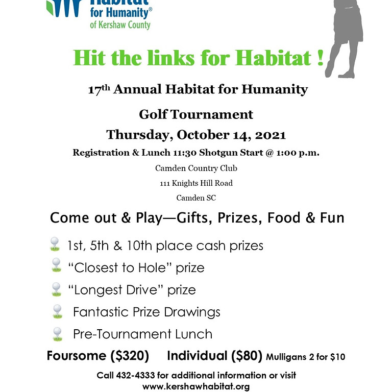 17th Annual Habitat for Humanity Golf Touurnament