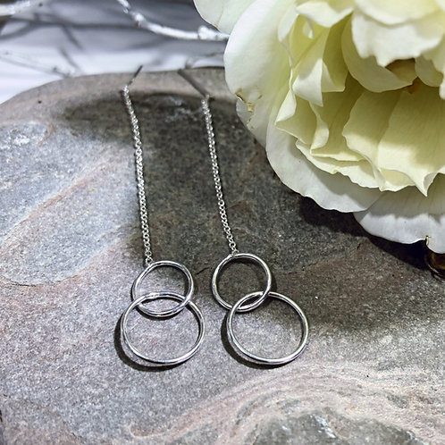 Threader earring sterling silver two linked ircles