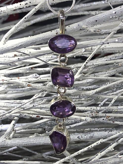Amethyst 4 cut stone drop pendant, amethyst necklace. February birth stone.