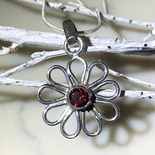 Garnet Cutstone daisy pendant in sterling silver. January Birthstone