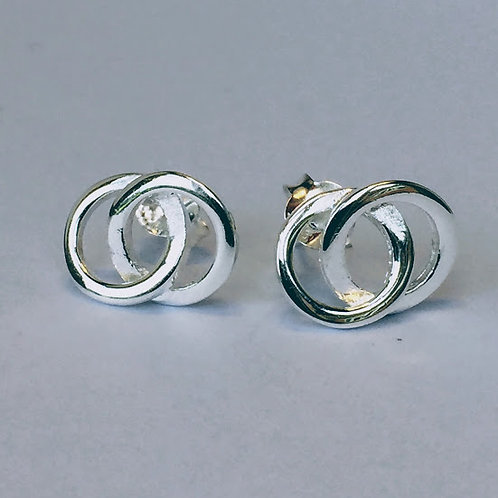 Entwined circles silver stud earrings