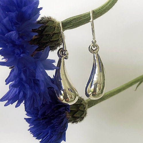 Sterling silver teardrop hook earrings