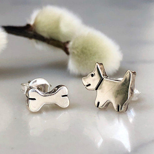 Dog and Bone Silver Stud Earrings