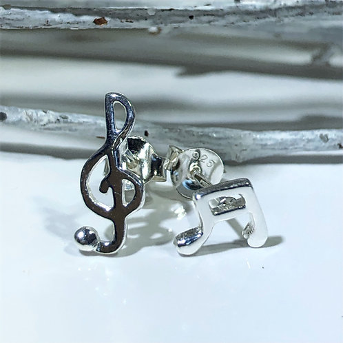 Musical stud earrings treble clef and crochet sterling silver musicians