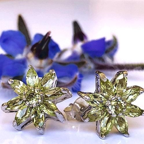 Peridot cut stone flower stud earrings in sterling silver. August Birthstone