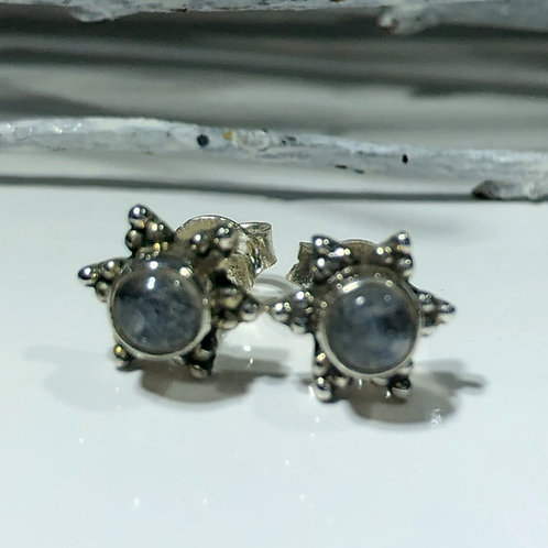 Moonstone cabochon sterling silver studs