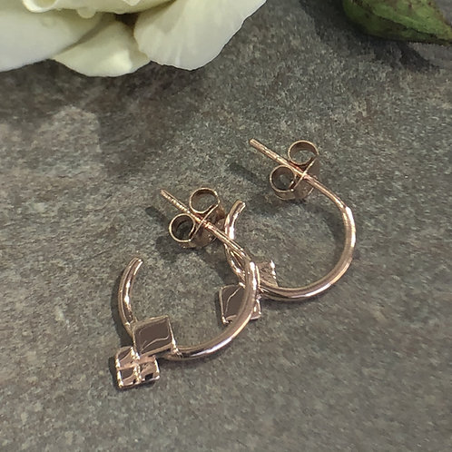 Rose gold embellished half hoops