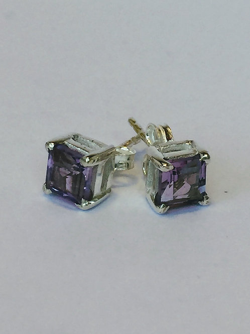 Amethyst square sparkling silver stud earrings